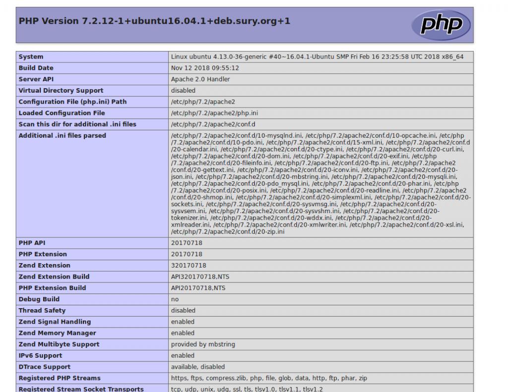 Resultado de funcion phpinfo